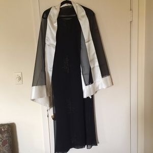 Black Silk Dress with Black and White Scarf